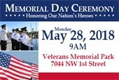 Memorial Day Ceremony May 28th