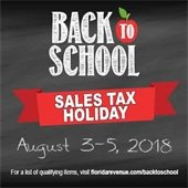 Back to School Sales Tax Holiday August 3-5, 2018