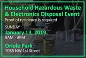 Household Hazardous Waste and Electronics Collection on January 13