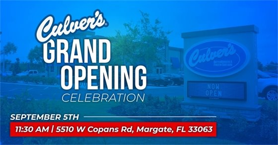 Culver's Restaurant Grand Opening on Saturday, Sept. 5th