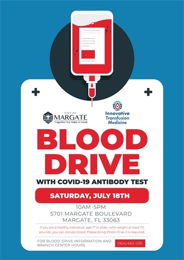 Blood Drive with COVID-19 Antibody Testing on Saturday, July 18th