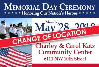 Memorial Day 2018 Change of Location
