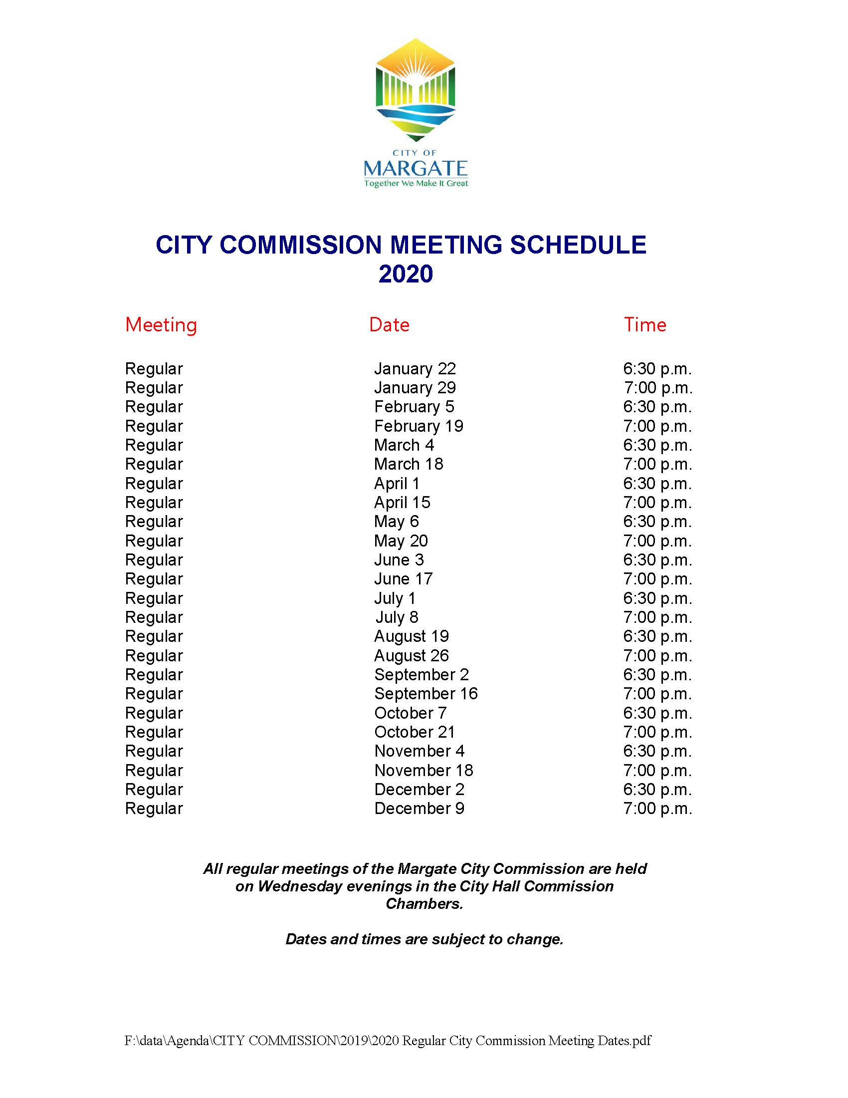 2020 Regular City Commission Meeting Dates
